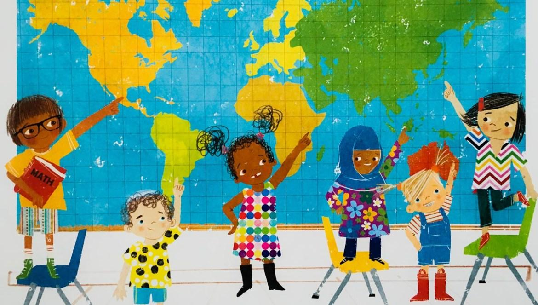 children pointing to world map