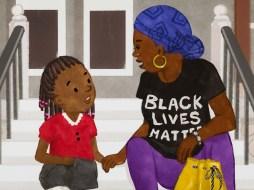 Girl & aunt talk on stoop