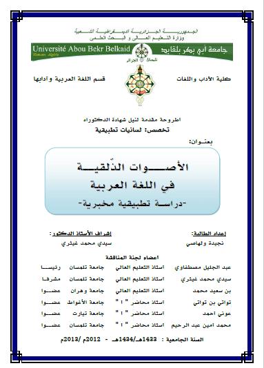 تحميل كتاب الأصوات الذلقية في اللغة العربية (دراسة تطبيقية مخبرية) pdf