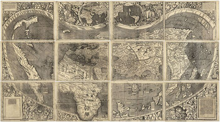 The first known map to show the name America was created with input from Amerigo Vespucci The Waldseemuller map was bought from a private collection in France and now resides at the Library of Congress in the USA.