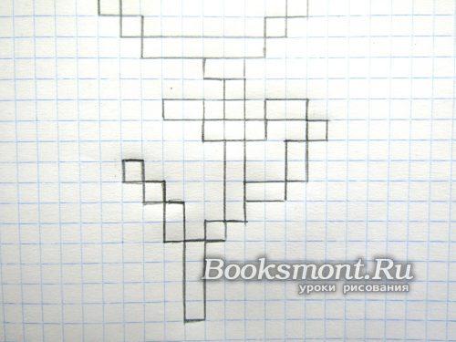 두 개의 셀의 블록을 얻으려면 왼쪽 상단 모서리에서 라인을 운반합니다.