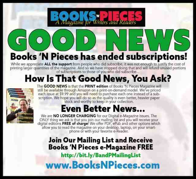 GREAT NEWS for Books 'N Pieces Readers