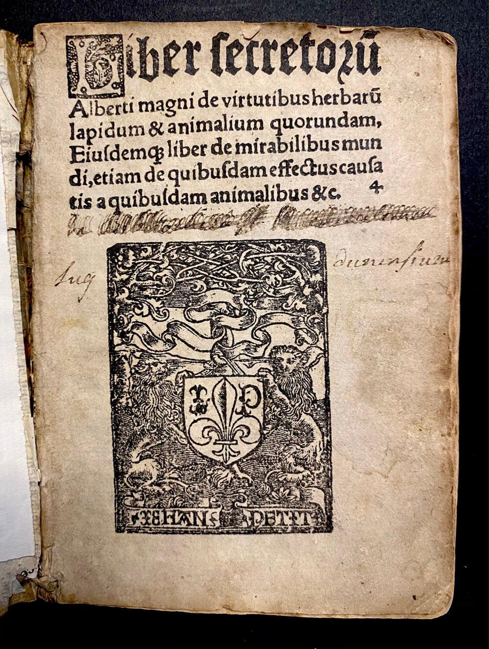 Title page Liber secretorum. Alberti Magni, 1510