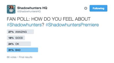 Shadowhunters Poll