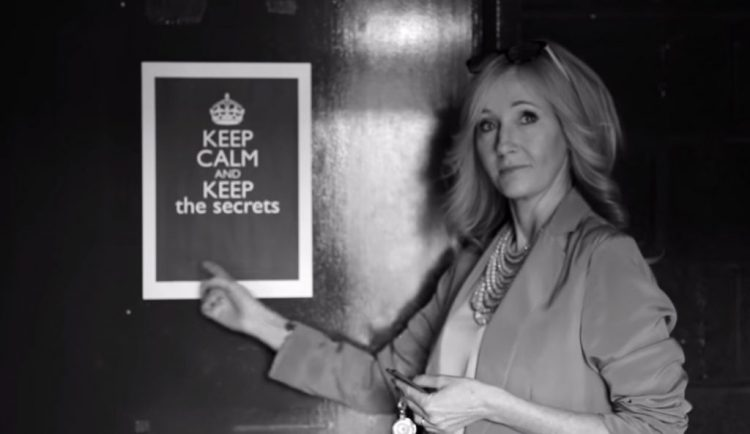 Keep Calm and Keep Secrets sign at Cursed Child play