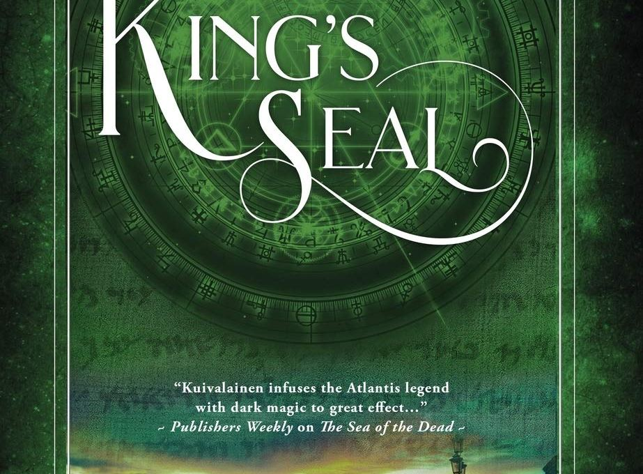 Cover for Amy Kuivalainen's book 'The King's Seal'. It follow the same designs as the previous books in the series, though this cover is in green.
