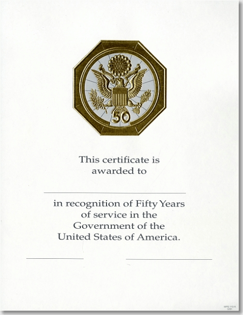 certificate of recognition for years of service