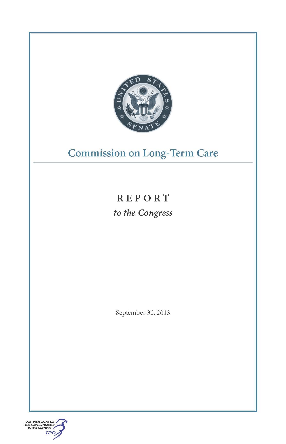 Commission on LongTerm Care Report to the Congress September 30 2013  US Government Bookstore