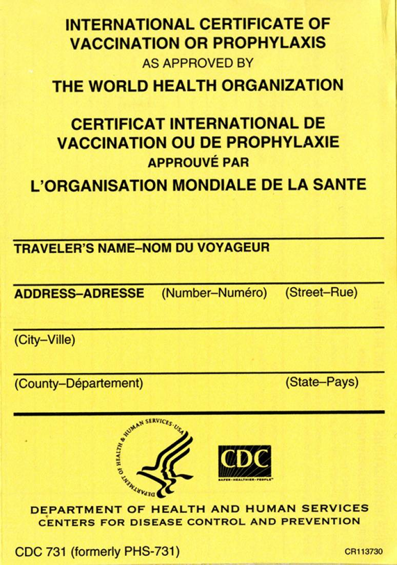 International Certificate Of Vaccination Or Prophylaxis As Approved By The  World Health Organization (Package Of 100)