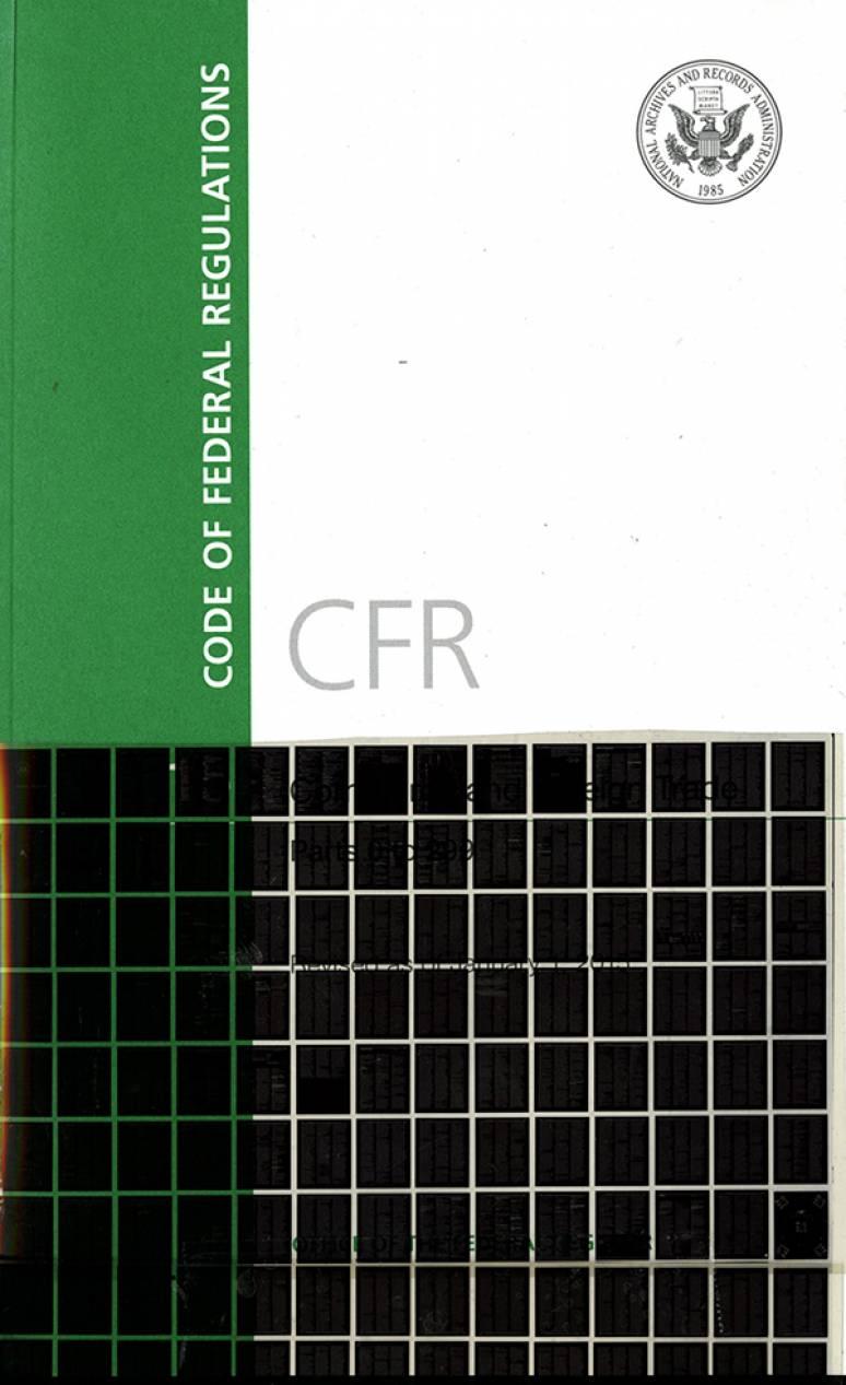 Code of Federal Regulations Code of Federal Regulations December 2015 Microfiche  US