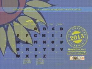graphic of April AtoZ blog challenge 2015 calendar