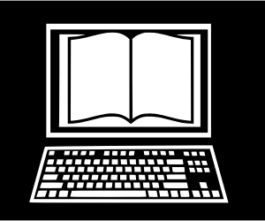 sketch of book on computer screen by boxfordlibrary on openclipart.org