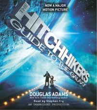 CD cover of The Hitchhiker's Guide to the Galaxy by Douglas Adams Read by Stephen Fry Published by Random House Audio   recommended on BooksYALove.com
