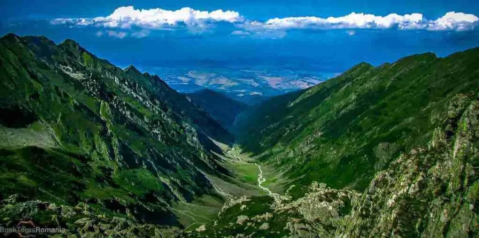the Carpathian Mountains: Valley in Fagaras Mountains