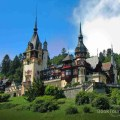 Peles Castle from the Carpathian Mountains