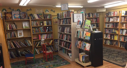 Children's and Fiction Sections of Eagle Harbor Used Books Annex.