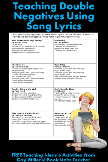 small resolution of Teaching Students about Double Negatives   Book Units Teacher