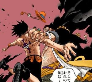 ヤミヤミの実の能力でエースを攻撃する黒ひげ