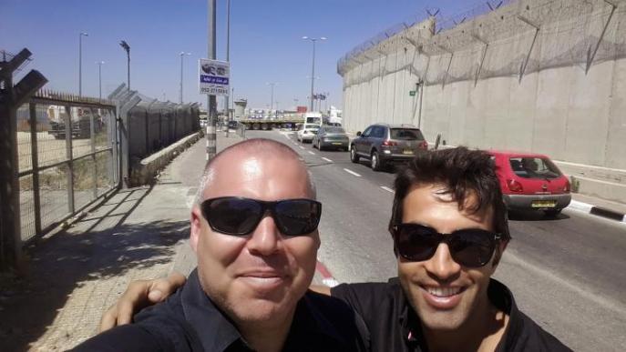 Gonen Ben Itzhak (left) and Mosab Hassan Yousef in Ramallah, West Bank, May 2013