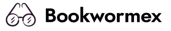 Bookwormex Logo (Black on White with glasses. 600x110)