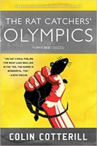 """""""The Rat Catcher's Olympics"""" by Colin Cotterill (Book cover)"""