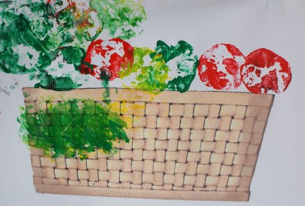 Apple painting basket