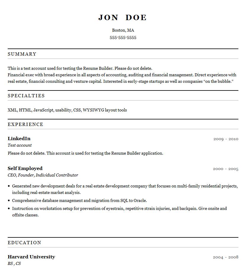 resume builder html template
