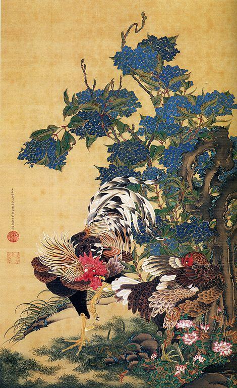 「紫陽花双鶏図」伊藤若冲」 ※public domain