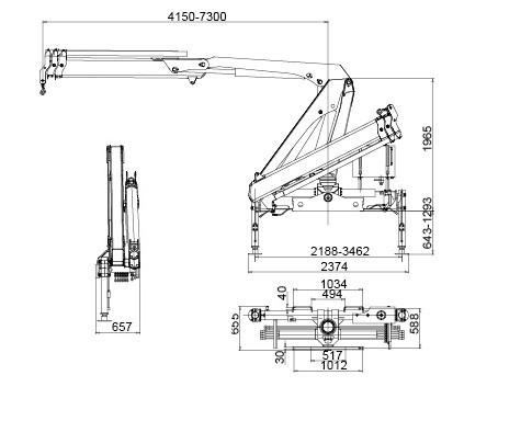 Folding Boom Truck Mounted Crane, 6.72 T.M Hydraulic Truck