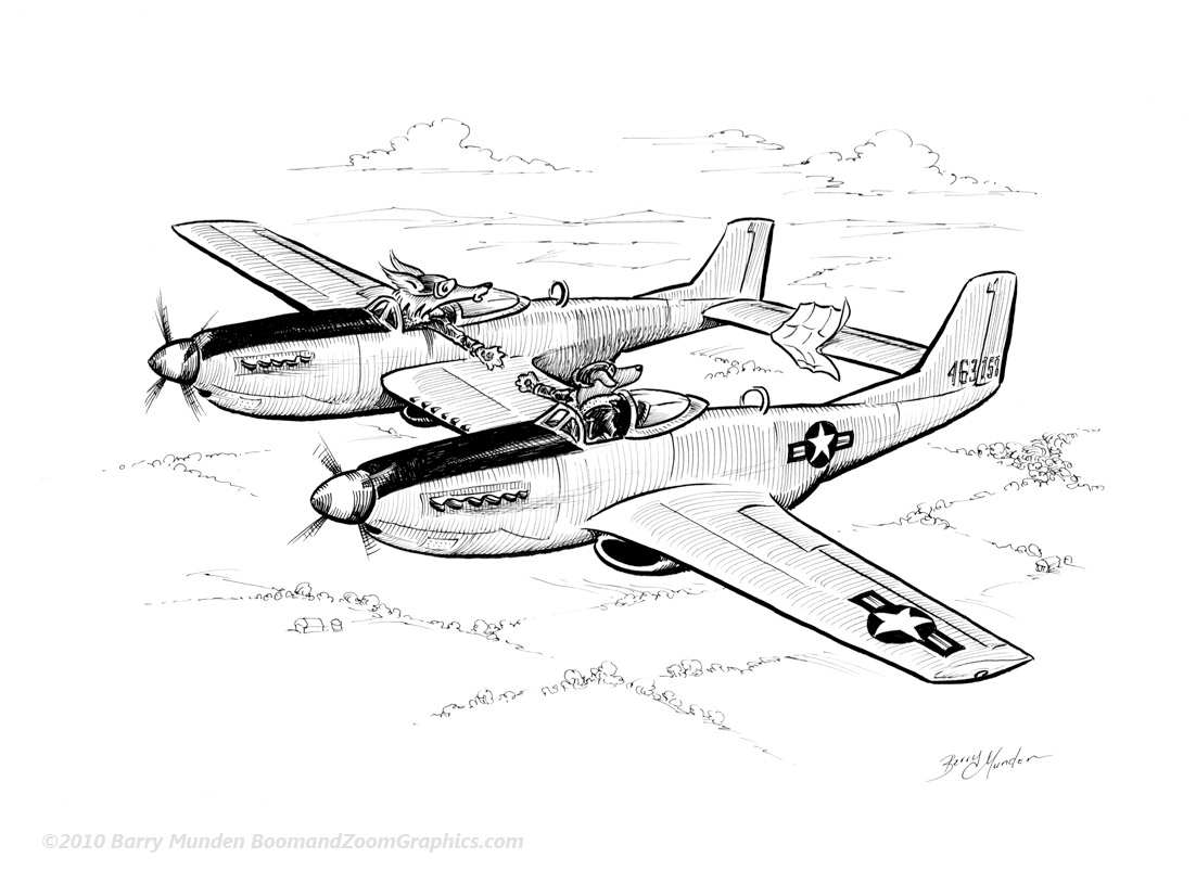 Mustang Plane Coloring Pages Sketch Coloring Page