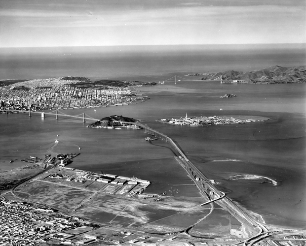 Treasure Island and the new bridges, looking west.