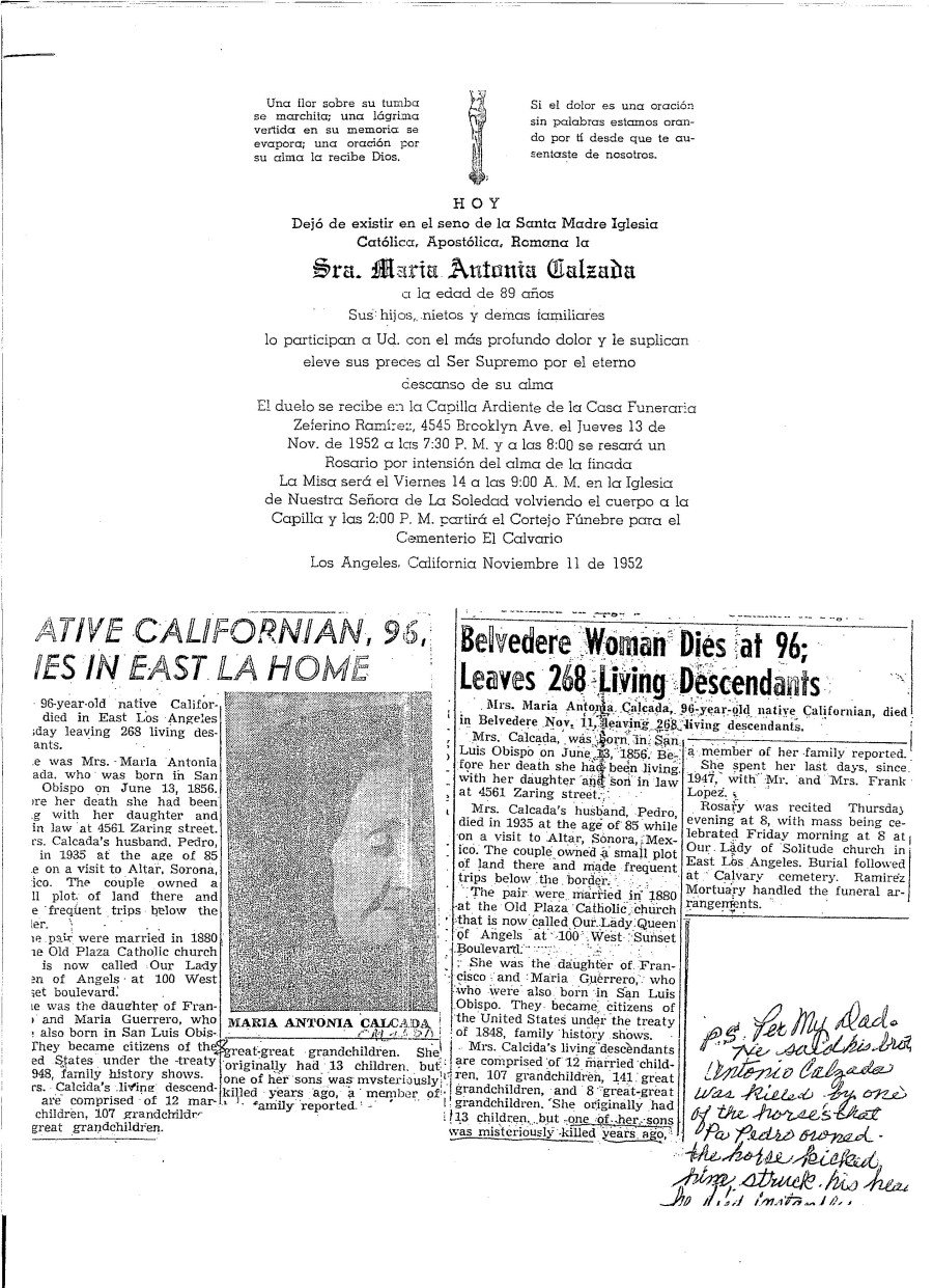Calzada funeral announcement and newspaper clips