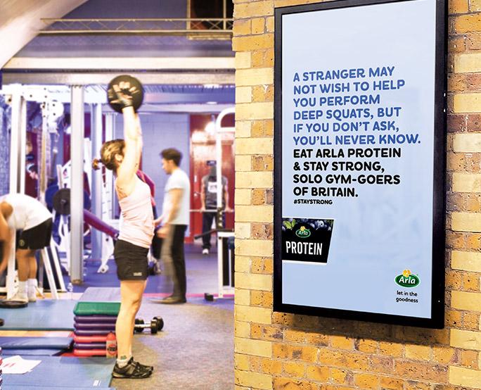 Arla D6 advertising in health club