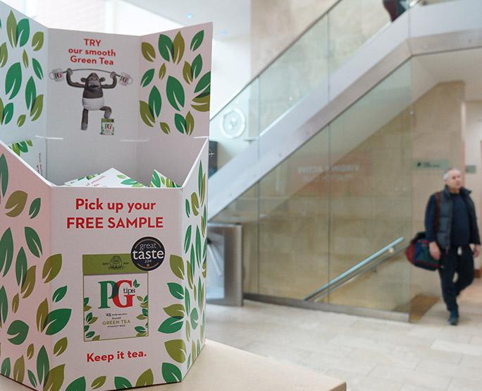 PG tips sampling advertising in health club