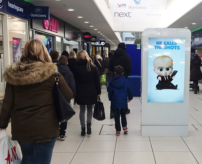 Boss Baby D6 in busy shopping mall