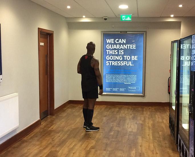 6 sheet advertisement in health club