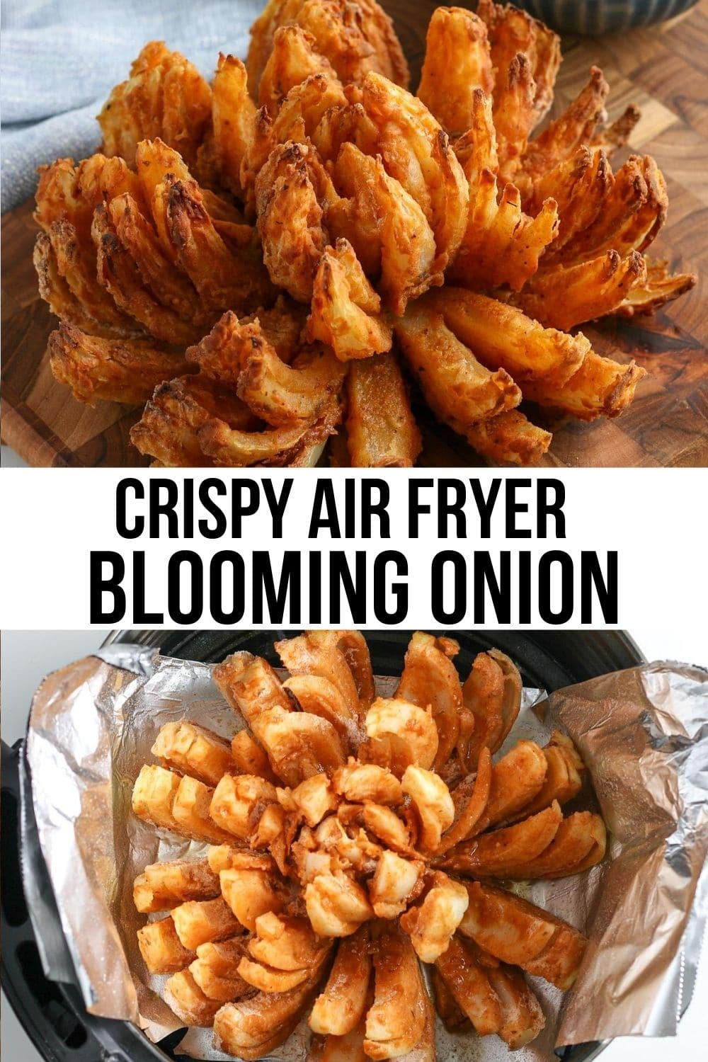 collage of air fried blooming onion.