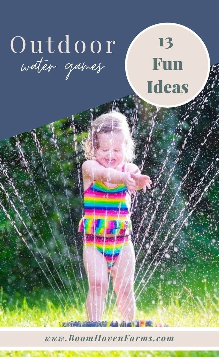 girl playing in a sprinkler in an outdoor water games for kids collage