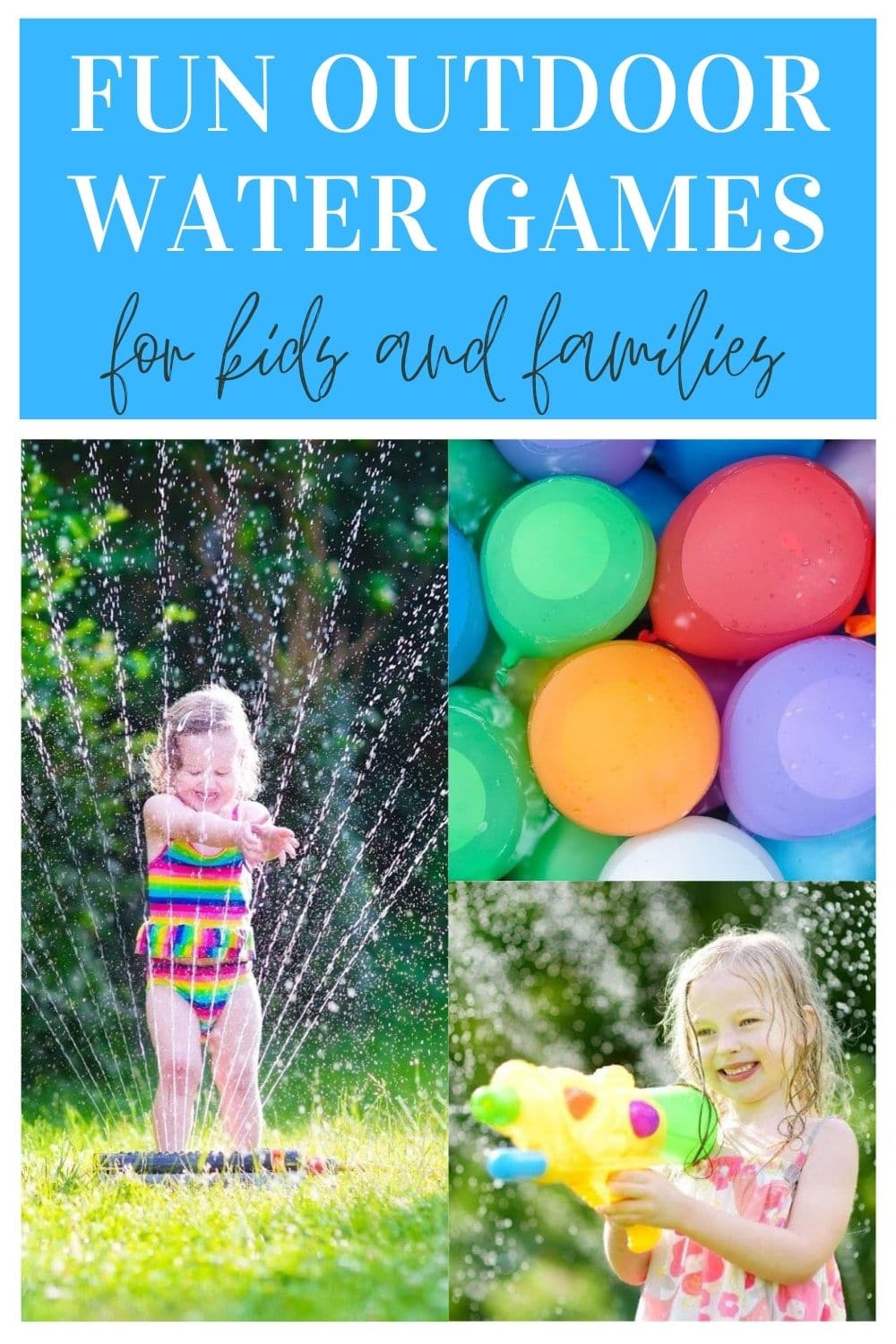 collage of outdoor water games for kids