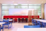 Breitner Tower, the home of Philips in Amsterdam, has dynamic cladding in the restaurant that changes in colour, content and pace to provide a relaxing and inspiring atmosphere for staff | Courtesy Architonic