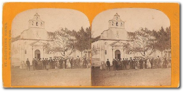 Vintage Stereoscopic View of Catholic Church St. Augustine FL