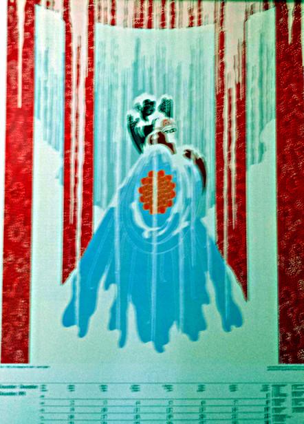 """Erte' Art Deco Calendar Page Lithograph """"Love's Captive"""""""