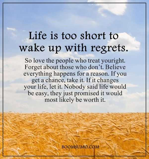 Inspirational Life Quotes Life Is Too Short Wake Up With Regrets