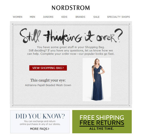 nordstrom ecommerce conversion rate cart