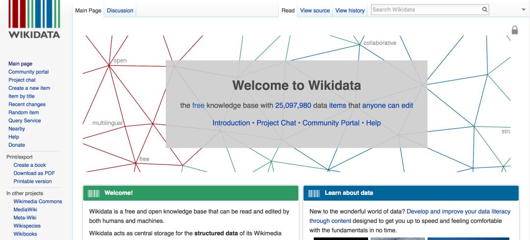 Wikidata knowledge graph