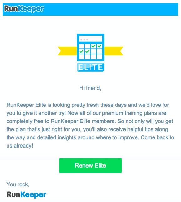 Runkeeper customer retention email