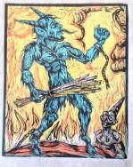 Blue Krampus!, 2014, relief print on paper , 9 by 12""