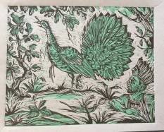 The Feather Hunter, 2014, relief print on paper , 9 by 12""