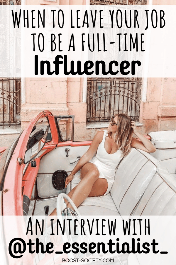 Thinking about quitting your job to be an influencer? Check out this influencer interview with @the_essentialist_ about leaving her job to be an influencer full time. #influencer #instagram | fashion influencer | travel influencer | influencer Instagram | social media tips personal branding | how to be an influencer | Instagram influencer | how to become a travel influencer | how to be a travel influencer | fashion influencer Instagram | travel influencer content | travel influencer Instagram