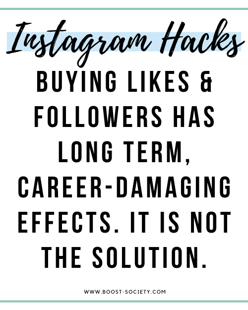 Buying likes and followers has long term, career-damaging effects. It is not the solution.